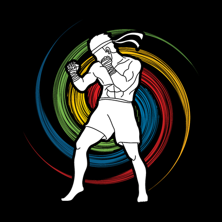 Muay Thai, Thai Boxing standing on spin wheel background graphic vector.