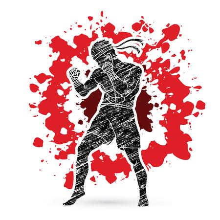 kickboxing: Muay Thai, Thai Boxing standing on splatter blood background graphic vector. Illustration