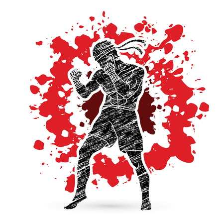 Muay Thai, Thai Boxing standing on splatter blood background graphic vector. Illustration