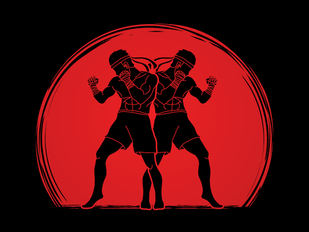 Muay Thai, Thai boxing standing ready to fight action designed on sunlight graphic vector