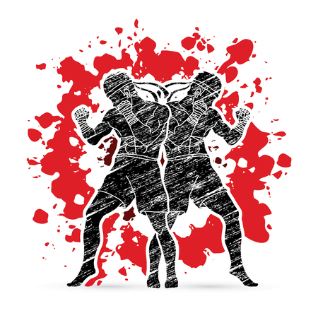 Muay Thai, Thai boxing standing ready to fight action designed on splash blood graphic vector.