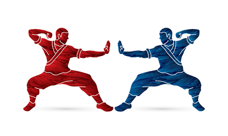 Kung fu action ready to fight designed using grunge brush graphic vector. Stock Vector - 88904934