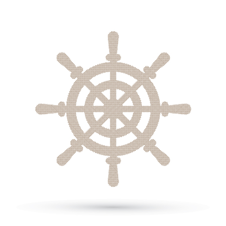 caribbean cruise: Ship steering wheel, Captain sign designed using dots pixels graphic vector.