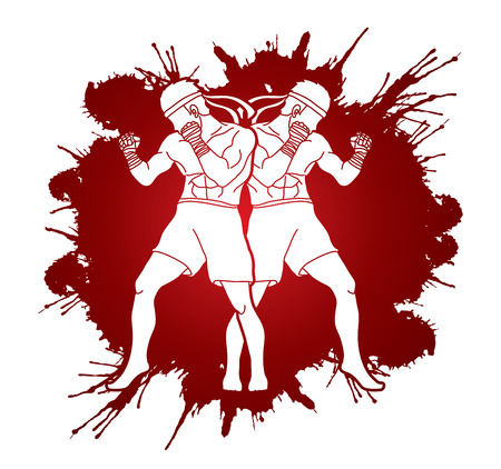 Muay Thai, Thai boxing standing ready to fight action designed on splatter blood graphic vector. Illustration