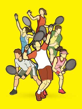 Tennisspelers, mannen en vrouwen actie grafische vector.