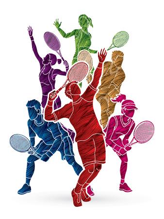 Azione di giocatori di tennis, uomini e donne progettata utilizzando il vettore grafico di pennello grunge.