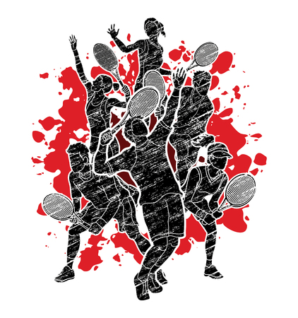 Tennis players , Men and Women action designed on splatter ink graphic vector.