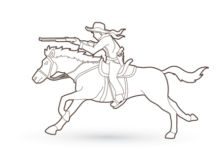 Cowboy on horse, aiming rifle outline graphic vector Illustration