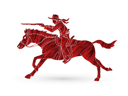 Cowboy on horse, aiming rifle designed using red grunge brush graphic vector
