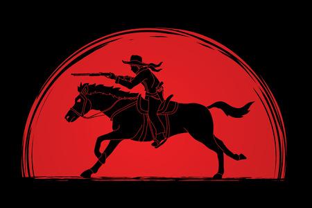 日光背景グラフィック ベクトルのカウボーイの馬に、ライフルを目指して設計されています