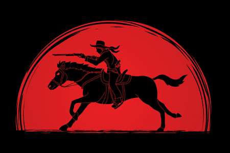 Cowboy on horse, aiming rifle designed on sunlight background graphic vector Illustration