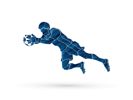 Goalkeeper jumping action pose. Illustration