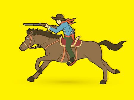 銃を保持して馬に乗るカウボーイ。