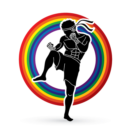 kickboxing: Muay Thai, Thai boxing standing ready to fight action designed on rainbow background graphic vector