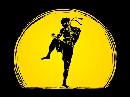 Muay Thai, Thai boxing standing ready to fight action designed on moonlight background graphic vector