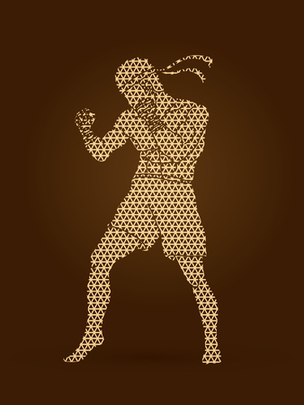 Muay Thai, Thai boxing standing ready to fight action designed using geometric pattern graphic vector