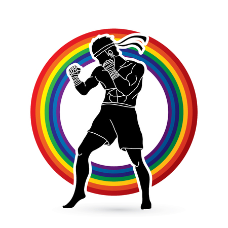 Muay Thai, Thai boxing standing ready to fight action designed on line rainbow background graphic vector