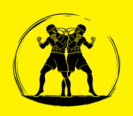 Muay Thai, Thai boxing standing ready to fight action graphic vector Illustration