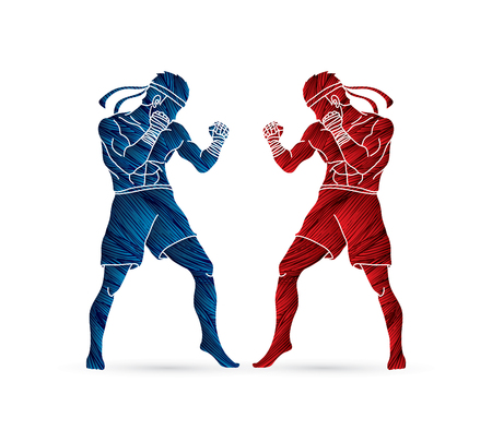 Muay Thai, Thai boxing standing ready to fight action designed using grunge brush graphic vector Illustration