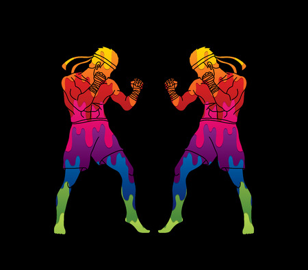 Muay Thai, Thai boxing standing ready to fight action designed using colorful graphic vector