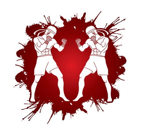 Muay Thai, Thai boxing standing ready to fight action designed on splatter blood background graphic vector Illustration
