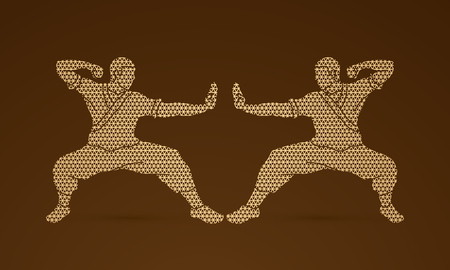 competitor: Kung fu action ready to fight designed using geometric pattern graphic vector.