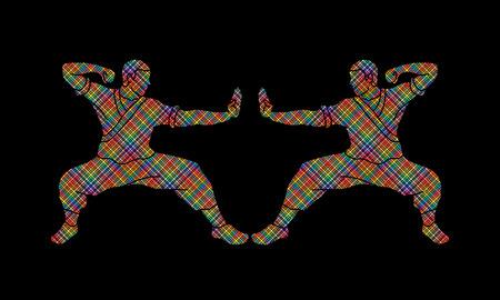 Martial artist design using colorful pixels graphic