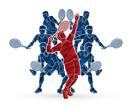 Tennis players action designed using grunge brush graphic