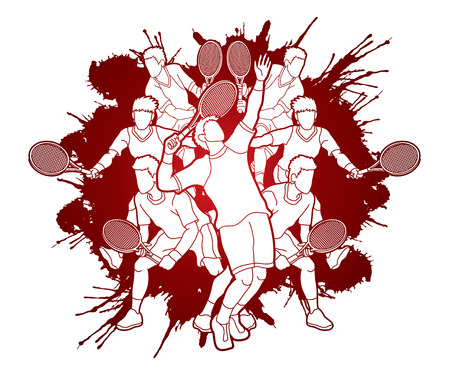 Tennis players action designed on splatter ink graphic