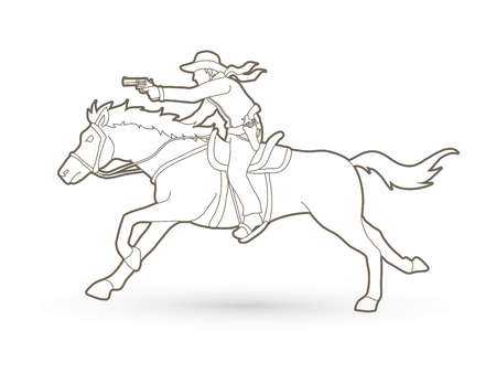 Cowboy riding horse and aiming gun outline graphic