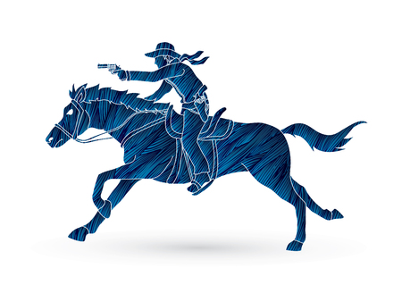 Cowboy riding horse,aiming gun designed using grunge brush graphic vector Illustration