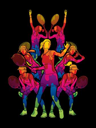 テニス選手、女性アクションのカラフルなグラフィックのベクターを使用して設計されています。  イラスト・ベクター素材