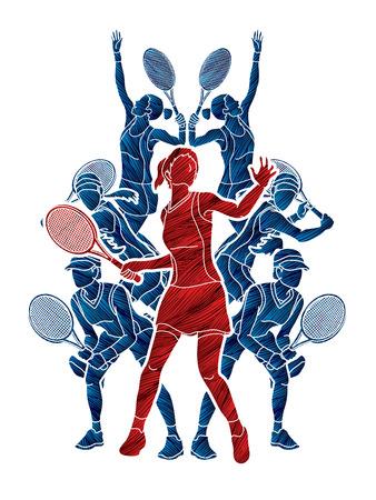 Los jugadores de tenis, la acción de las mujeres diseñado utilizando grunge pincel gráfico vectorial. Foto de archivo - 89822282