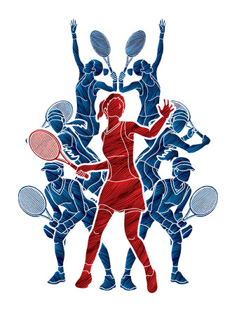 Tennis players , Women action designed using grunge brush graphic vector.
