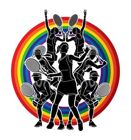 Tennisspieler, Frauenaktion entworfen auf Linie Regenbogenhintergrund-Grafikvektor. Standard-Bild - 89822286