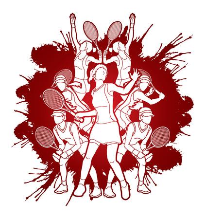 Tennis players , Women action designed on splash ink background graphic vector. Illustration