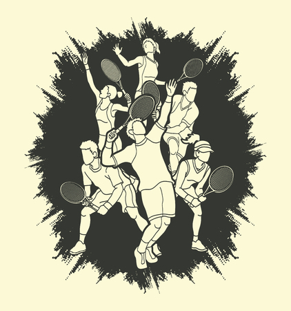 Tennis players , Men and Women action designed on grunge frame background graphic vector.