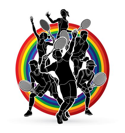 テニス選手、男性と女性アクション ライン虹背景グラフィック ベクトルに設計されています。
