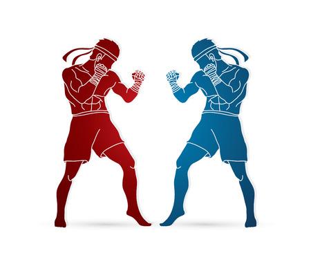 Muay Thai sports icon. Illustration