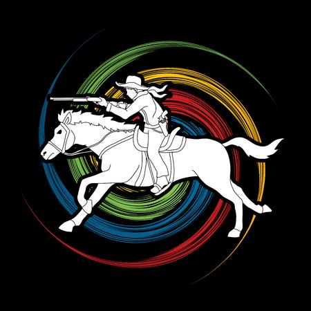 カウボーイ乗馬馬のアイコン。