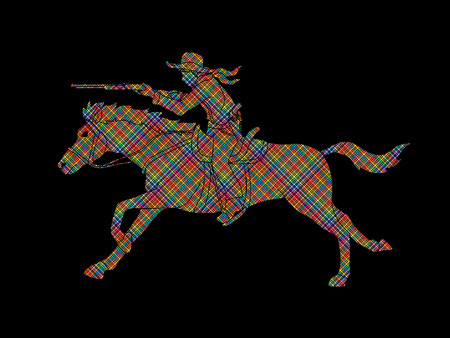 Cowboy riding horse,aiming rifle  designed using colorful pixels graphic vector