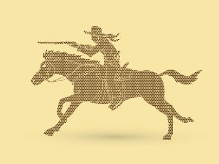 幾何学模様のグラフィックベクトルを用いて設計されたカウボーイ乗馬、照準ライフル