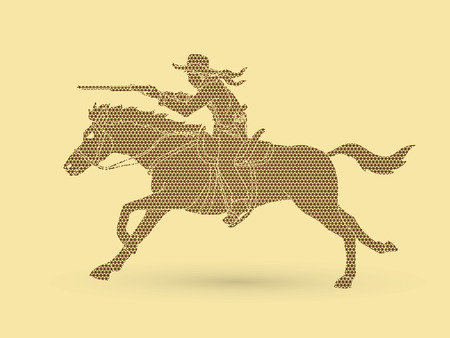 Cowboy riding horse,aiming rifle  designed using geometric pattern graphic vector