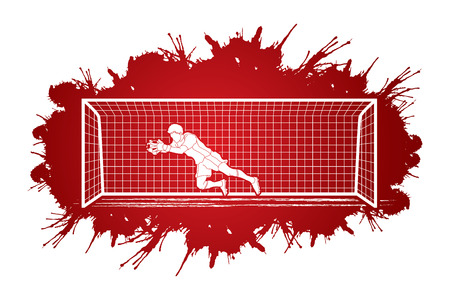 Goalkeeper jumping action, catches the ball designed on splatter ink background graphic vector. Illustration