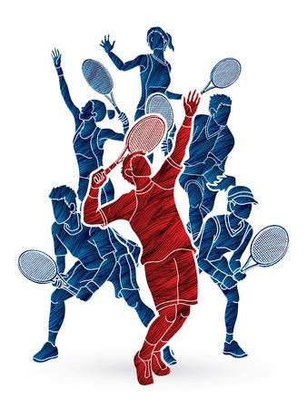 Gracze w tenisa, kobiety i mężczyźni działania zaprojektowane przy użyciu pędzla grafiki wektorowej. Ilustracje wektorowe