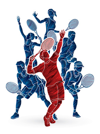 Los jugadores de tenis, acción de los hombres y de las mujeres diseñaron usando vector gráfico del cepillo del grunge. Foto de archivo - 89980488