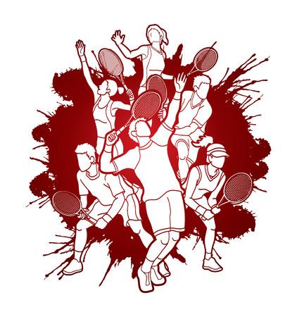 Gracz w tenisa, mężczyzna i kobiet akcja projektująca na splatter krwi tła grafiki wektorze.