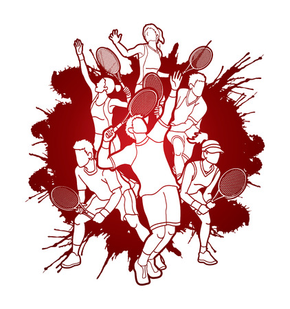 Tennis players , Men and Women action designed on splatter blood background graphic vector.