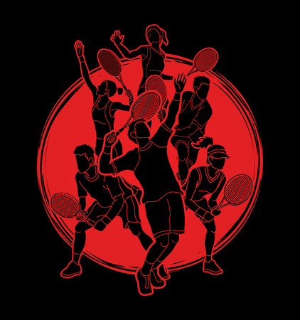 Tennis players , Men and Women action designed on sunlight background graphic vector. Illustration