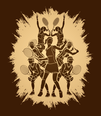 Tennis players , Women action designed on grunge frame background graphic vector. Illustration
